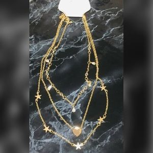 Multi-Layer Boho Gold Necklace Heart/Star Charms
